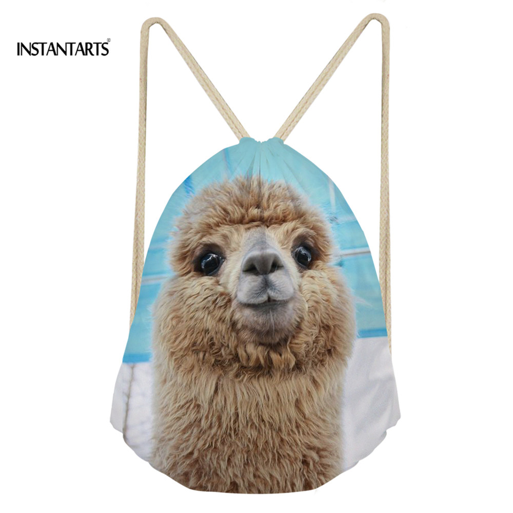 INSTANTARTS Cute Drawstring Bag Fashion 3D Alpaca Printed Backpack Mini Storage Fitness Shoulder Bag Brand Design