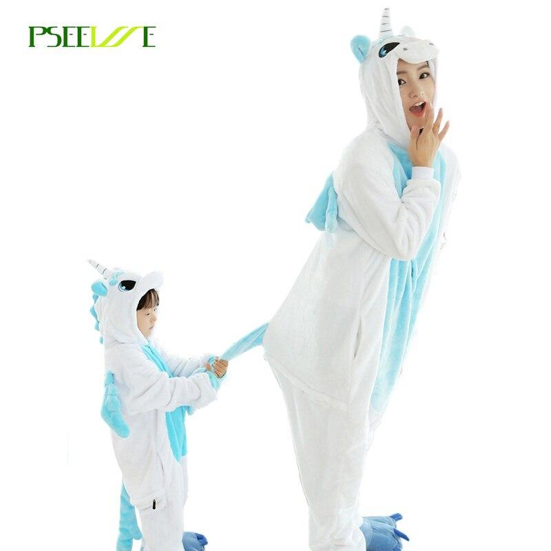 PSEEWE Woman Pijamas winter animal cartoon unicorn onesie unicorn costume child girls pyjama christmas adult pajama sets