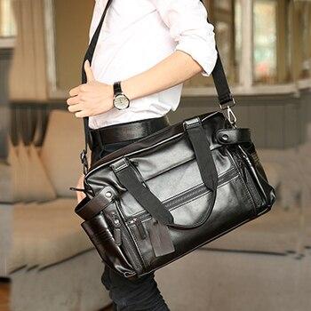 Young Fashion mens leather travel bag vintage duffle handbags large men business luggage bag with shoulder strap sac voyages 2
