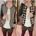 Short Jacket PU Leather Patchwork Crew Neck Fashion Women Long Sleeves Thin Coat Outerwear Houndstooth Pattern