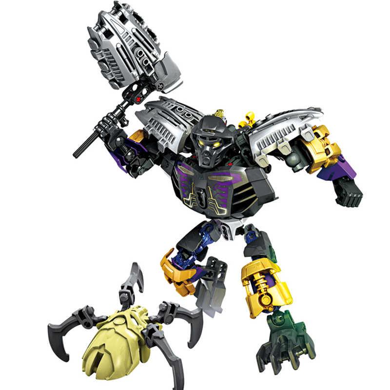 XSZ 708-4 BionicleMask de Luz Crianças Senhor De Crânio Aranha Building Block Brinquedos Compatíveis com Legoings Bionicle 70790