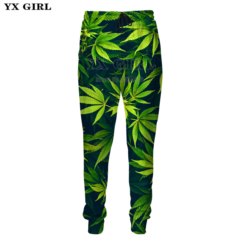 YX Girl High Quality Polyester Sweat Pants Mens Green Weed Leaf 3d Printed Sweatpants Men Hip Hop Streetwear Track Pants Joggers