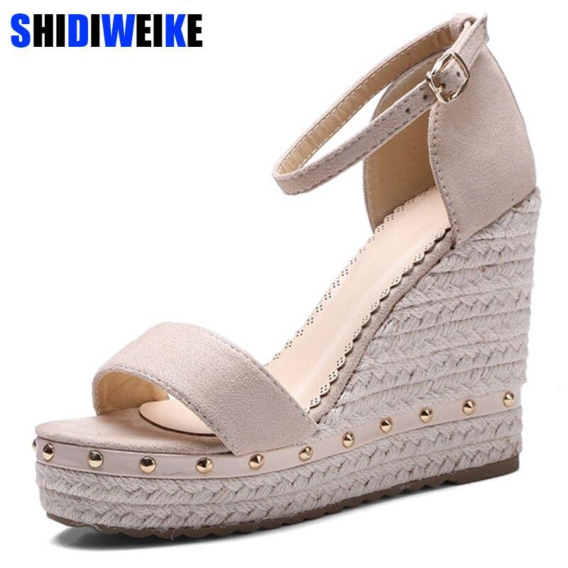 0482ba4a95 Mulheres Sandálias de Verão 2019 Sandálias Plataforma De Salto Alto Sapatos  com Tira No Tornozelo Sandálias