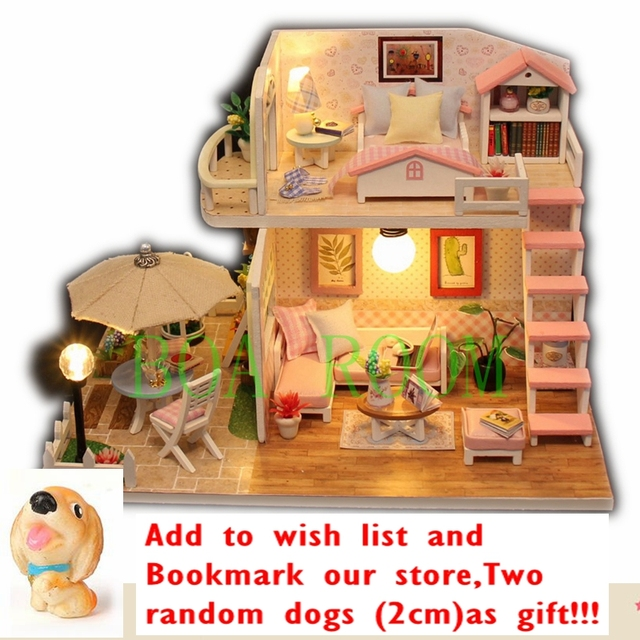 Delightful POPPENHUIS Gifts Miniature Puzzle M033 Doll House Model Wooden Furniture  Building Blocks Toys DOLLS DOLLHOUSE PINK