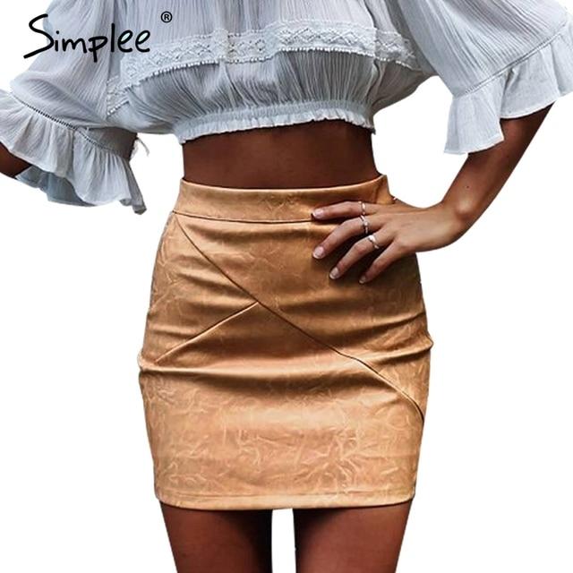 4f0bda7373260 Simplee Faux cuir taille haute moulante jupe femmes Chic mince classique  crayon jupes Noir wrap automne