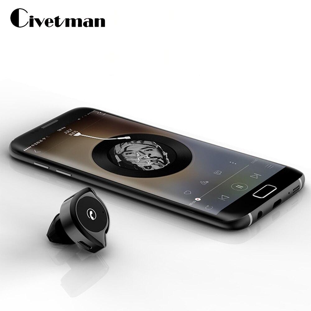 Mini Wireless Earphones In-ear Bluetooth Headset Handfree Siri Voice Control Mic Music Play Bluetooth Earphone For iPhone XiaoMi