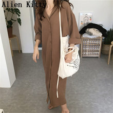 Alien Kitty 2019 Autumn Loose Casual Long Trench Hot Sale Solid Office Lady Work