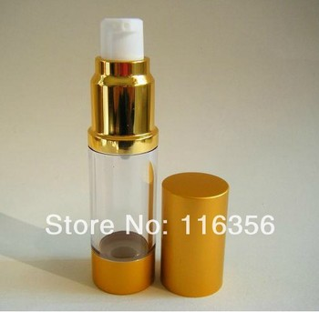 15ML Gold airless bottle or cosmetic sprayer with white pump