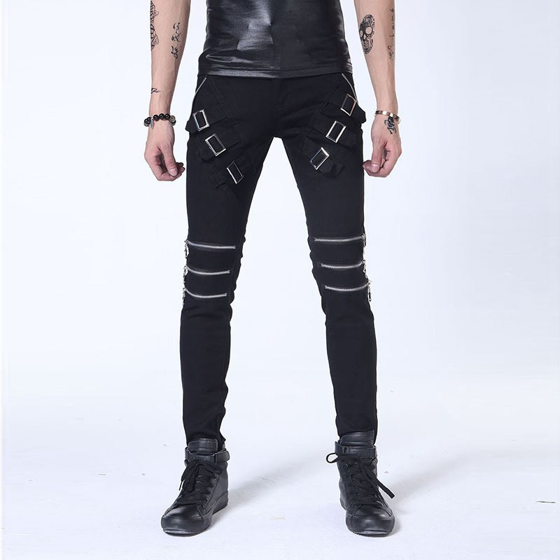 #1407 2017 Men biker jeans with zippers Fashion Black/white jeans men Skinny Punk Hip hop Mens biker jeans Ankle zipper jeans