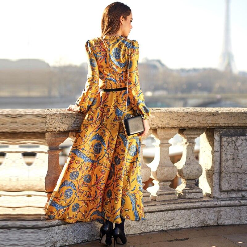 df51d44b0d8b98 HOGE KWALITEIT Nieuwe Mode 2018 Designer Maxi Dress vrouwen Lange Mouwen  Geel Prachtige Bloemenprint Lange Jurk Plus size S XXXL in HOGE KWALITEIT  Nieuwe ...