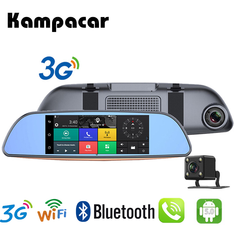 Kampacar GPS Car Navigator Video Registrator 3G Android Navigation With Camera Car Dvr Rearview Mirror Drive Recorder 2 Dash Cam
