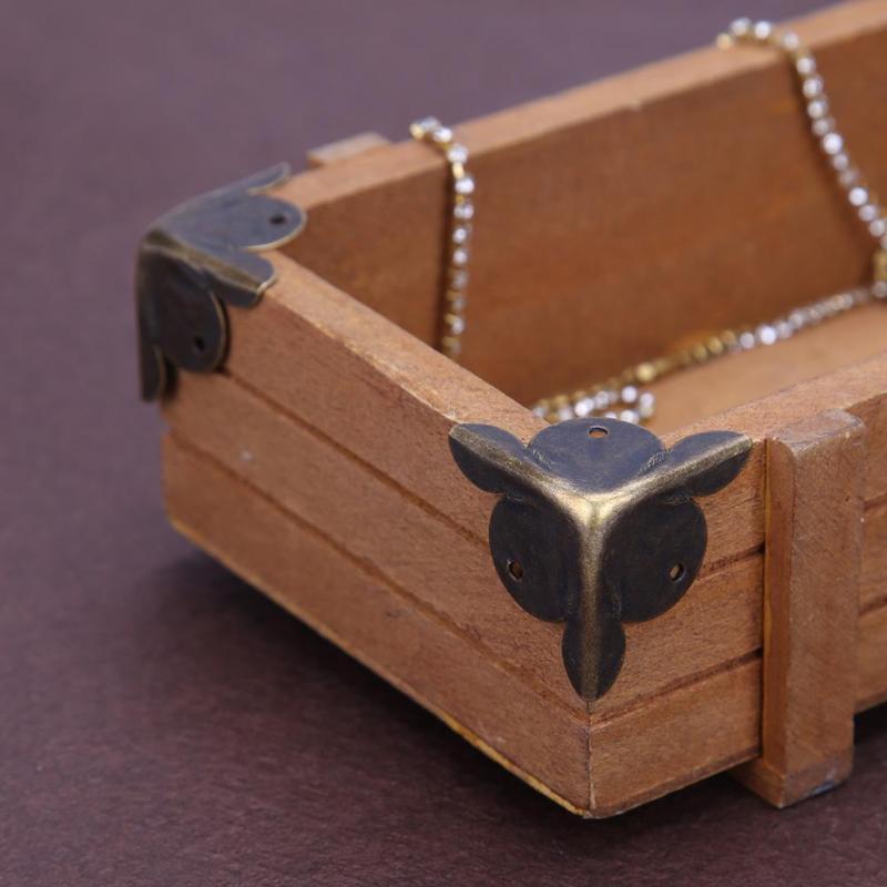 Retro 12pcs Furniture Decorative Metal Corners Jewelry Box Wood Corner Protector Antique Corner Chinese Crafts