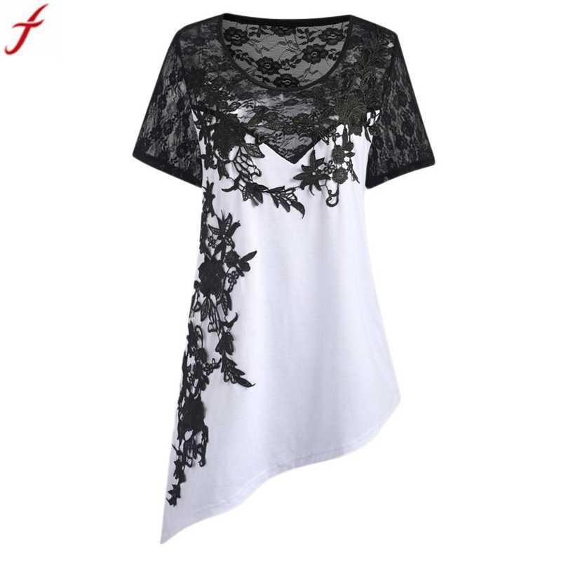 Plus size  asymmetric tunic shirt 2018 summer womens appliques blouse floral lace hollow out boho tops ladies vetement femme #4