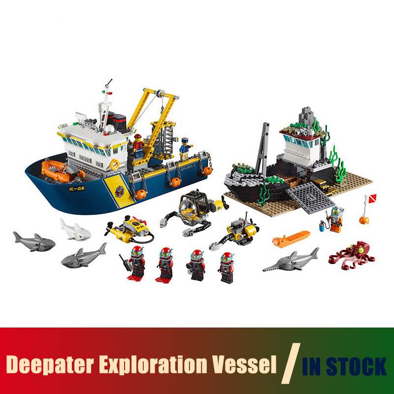 Compatible with lego city 60095 Models building toy Deep Sea Explorers Exploration Vessel Submarine Shipwreck Building Blocks миска для кошек dezzie улов