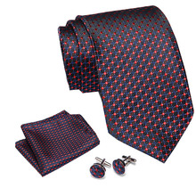 2019 High Quality Blue Geometric 100% Silk Men Tie Vangise 7.5cm Woven Business Necktie Set Dropshipping Gift