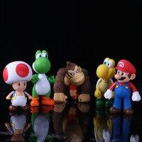 6 Unidades 10-14 cm Super Mario Figura de Acción de Evadir Pegamento Justas de Coches Pequeños Artículos de Equipamiento Modelo Regalos de Vacaciones Caja llena de ornamento