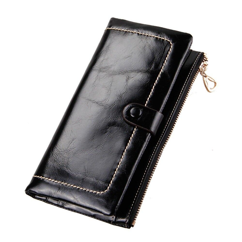 ФОТО New Fashion Genuine leather women's wallets long big capacity women's purses oil wax cow leather vintage handbags JM-01342