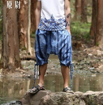 2020 Summer New Men's Printing 7 Pants Low Pants Collapse Pant Personality Loose Cross Pants Singer Stage Costumes