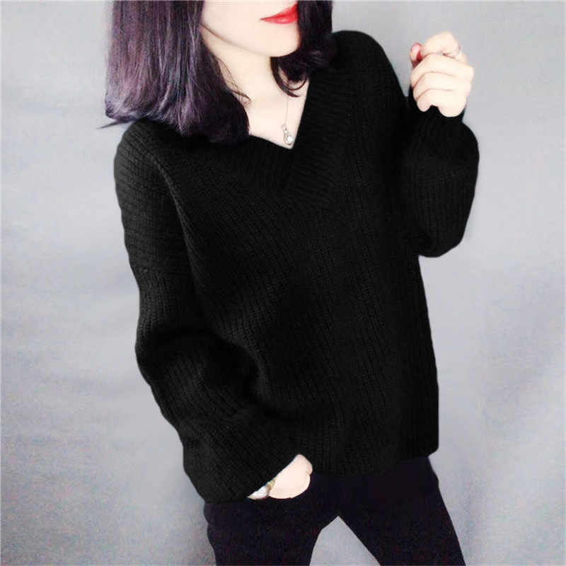Szdyqh 여성 스웨터 2019 겨울 새로운 스타일 대형 v-목 캐시미어 니트 풀오버 여성 느슨한 따뜻한 솔리드 스웨터