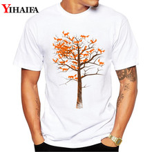 Men T Shirt Animal Graphic Tee Fox Tree 3D Print Short Sleeve White T-Shirts Summer Blouse Tops