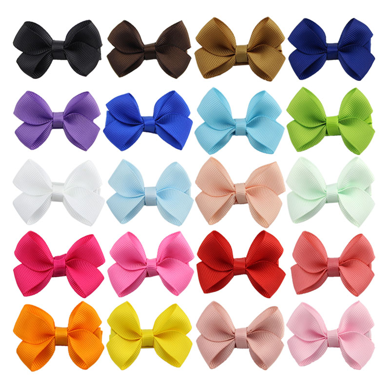 20Pcs/pack 2.2Inch Small Mini Bow Clips Whole Wrapped Safety Hair Clip with Boutique   Headwear   Hairpins for Girls 117