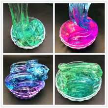 DIY Color Mixing Colorblock Gradient Crystal Mud Slime Toy For Kids With Colored Foam Balls Clear Fluffy Clay Adults Anti-stress(China)