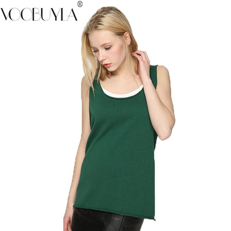 2019 New Style Voobuyla Solid U-neck Camis Knitted Tank Tops Women 2019 Summer Sexy Sleeveless Shirts Female Slim Wear Knitting Vest Feminino