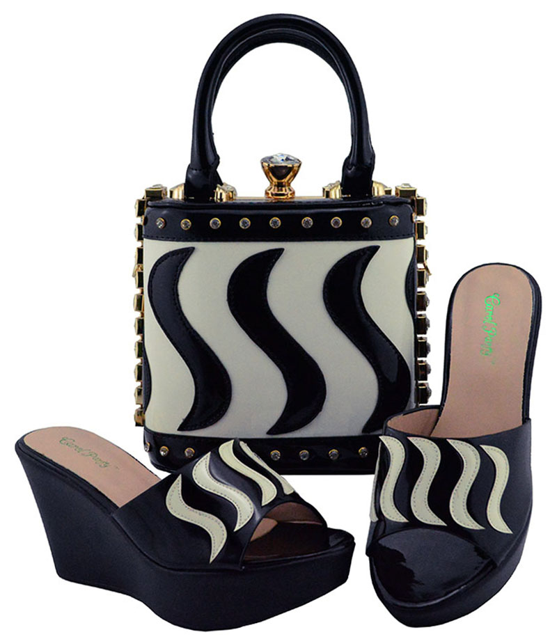 Italian Design Wedges Shoes and Bag To Matching Shoes and Bag Set For Party Nigerian Women Fashion Shoe and Bag Set MD005 cd158 1 free shipping hot sale fashion design shoes and matching bag with glitter item in black