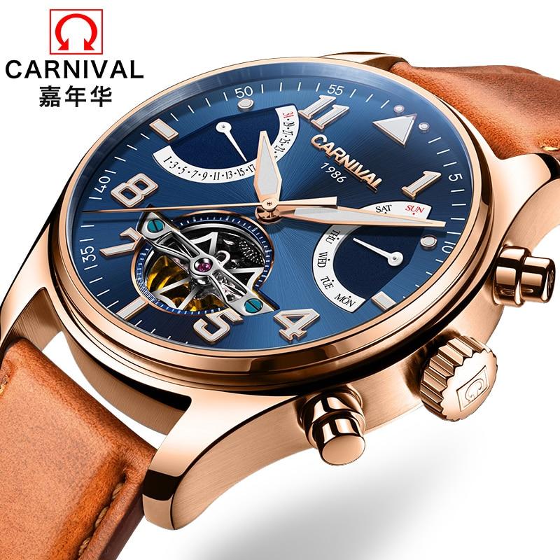 Switzerland Carnival Brand Luxury Mens Watches Multi-function Watch Men Sapphire reloj hombre Luminous relogio Clock C8783-12 цена