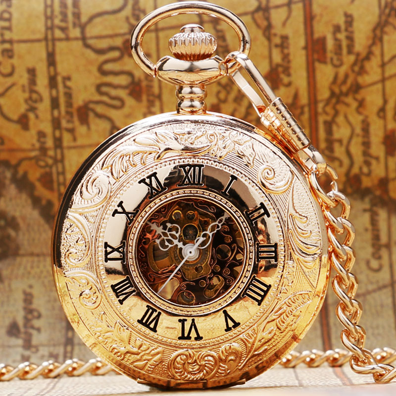 Fashion Rose Golden Mechanical Hand Wind Pocket Watches Necklace Skeleton Dial Watch Gift