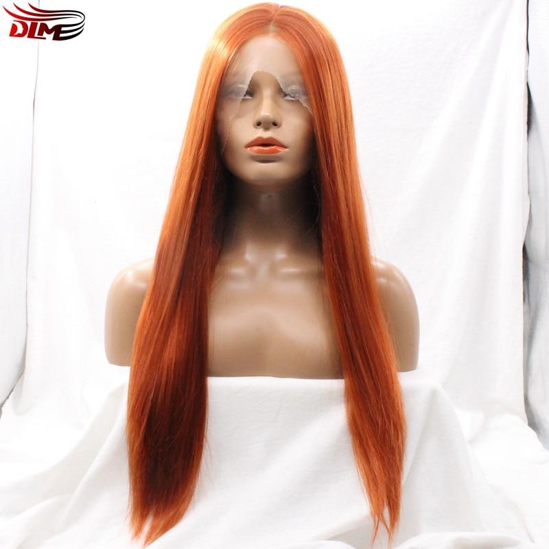 Dlme gratis verzending hittebestendig silky straight haar #350 orange kleur synthetische kant pruiken met middenscheiding