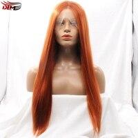 Dlme y envío gratis a prueba de calor rectas sedosas del pelo #350 orange color pelucas delanteras del cordón sintético con la partida media