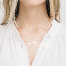 Laramoi 925 Sterling Silver Gold Plated Two Tone Simple Bar Shape Pendant Korean Style Design Necklace for Women Girls