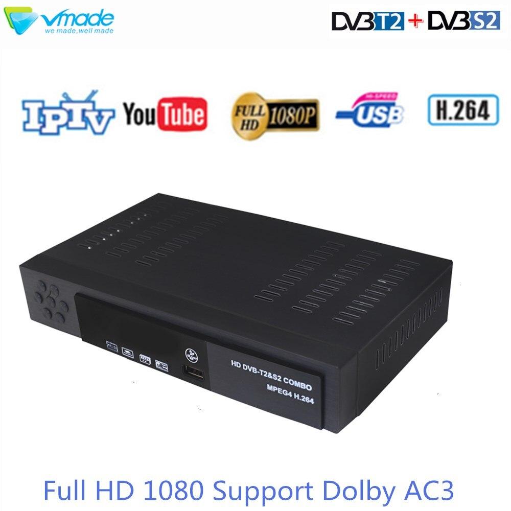 Vmade Mais Novo Combo DVB-T2 DVB-S2 AC3 H.264 Suporte Dolby Digital Terrestre Receptor de Satélite Cccam Biss Chave HD Set-Top caixa