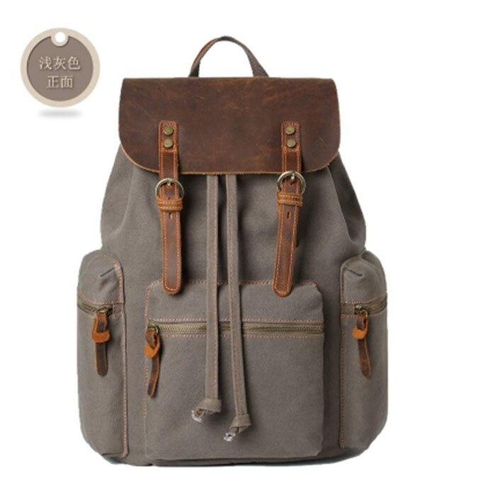 Homme sac à dos grande capacité sac à dos pour garçons sac à ordinateur portable toile noir hommes sacs à dos sacs d'école kaki/noir/gris