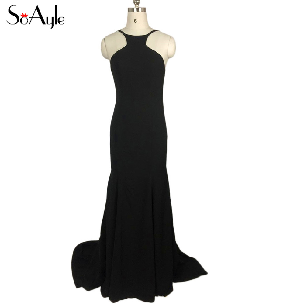 SoAyle Backless Black Evening Dresses Long Formal Gowns Simple ...