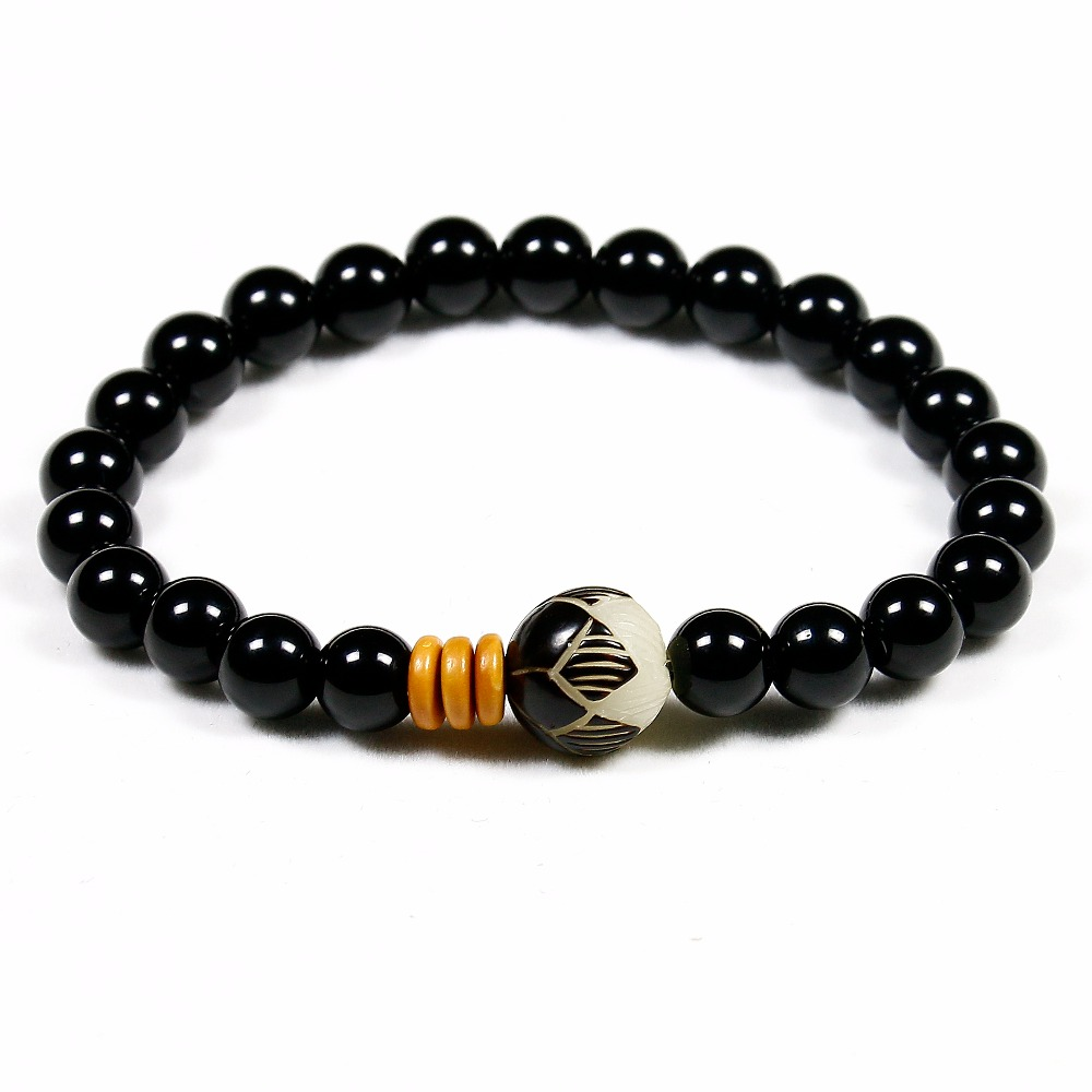 8mm Black Onyx Natural Stone Beads with Tibetan Mala Bodhi Lotus Beads Handcrafted Bracelet For Women and Men Yoga Jewelry