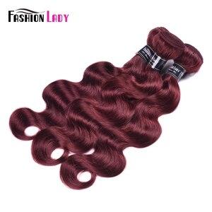 Image 3 - Fashion Lady Pre colored Peruvian Hair Bodywave Bundles 100% Human Hair Weaves 99j Bundles Red Hair 1 Piece Non remy Hair