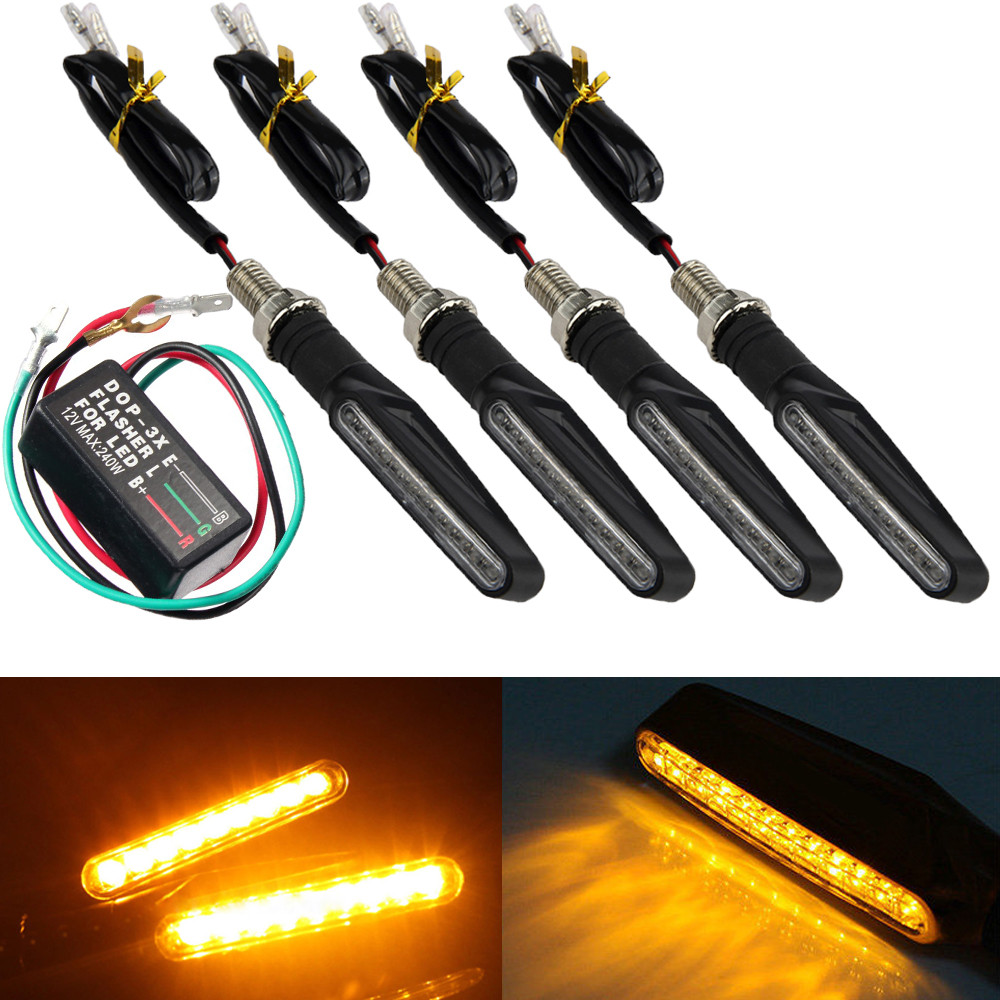 4pcs 12led Universal Motorcycle Turn Signal Indicator Light Wiring A Relay Flasher 2 Wires In Lamp From Automobiles Motorcycles On
