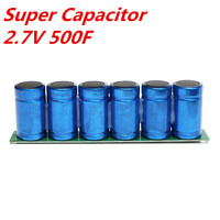 New 1Pc Farad Capacitor Kit 6Pcs 2.7V 500F Super Capacitors With Protection Board Capacitors 16V 23x3.5x6cm Electronic Supplies