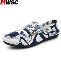 MWSC Summer Soft Light Casual Loafer Shoes Graffiti Printed Canvas Breathable Men S Fashion Slip On