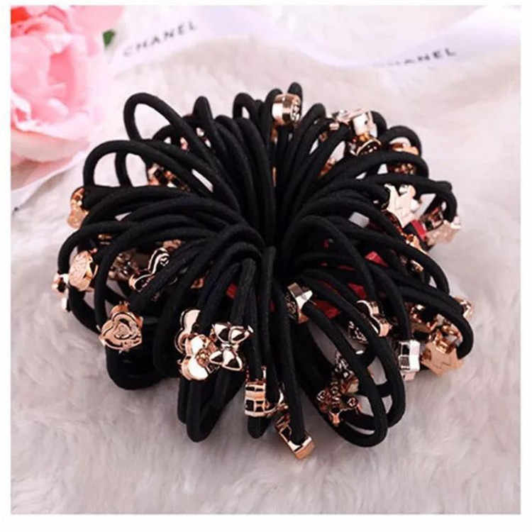10pcs hair rings gold beads hair accessories fashion rubber band headgear rubber band small gift factory wholesale