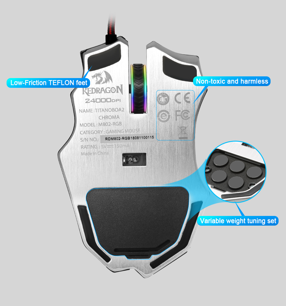 Redragon USB wired RGB Gaming Mouse 24000DPI 10 buttons laser programmable game mice LED backlight ergonomic for laptop computer 14