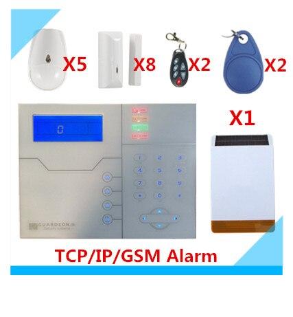 2018 livraison gratuite Web IE Contrôle ST-VGT TCP/IP D'alarme GSM Système D'alarme De Sécurité À La Maison avec Extérieur Solaire Sirène Stroboscopique