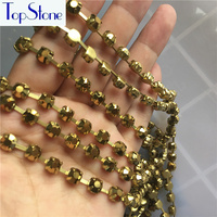 Ss28 Ss38 45ss Gold Hematite Color Handmade Sew On Crystal Rhinestone Round Cup Chain Silver Base