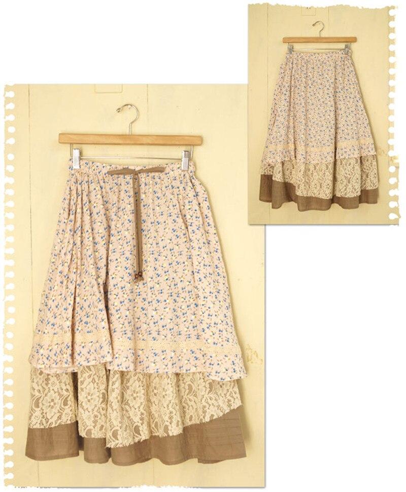 Японский стиль Харадзюку, Ретро стиль, национальный тренд, многослойная длинная юбка с цветочным принтом, большие размеры для женщин, Saias Preta