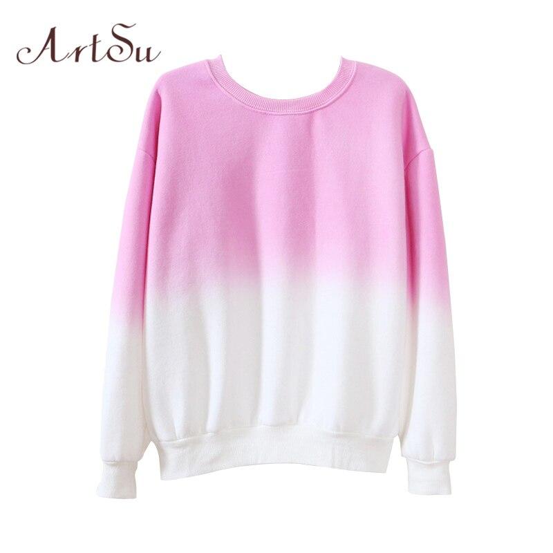ArtSu őszi téli sűrűs fleece színátmenet színe kapucnis pulóver Női kapucnis tréningruha aranyos pulóverek ruházat ASHO50037