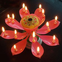Urijk Brief Romantic Musical Candle Lotus Flower Party Gift Art Happy Birthday Candle Lights Party DIY Cake Decoration For Kids(China)