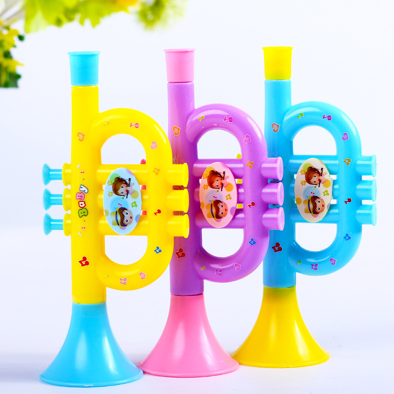 Children's Trumpet Toy Cartoon Plastic Playing Medium Instrument Baby Music Toy Small Gift Toy