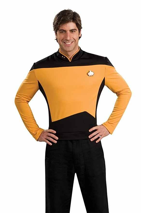 Estrela tng a próxima geração st vermelho amarelo azul camisa uniforme cosplay traje para homens casaco festa de halloween